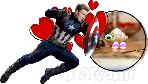 Marcel the Shell and Captain America aka Jenny Slate and Chris Evans
