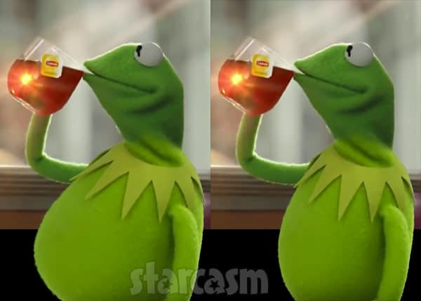 Kermit the Frog sipping flat tummy tea