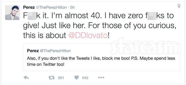 Perez Hilton Demi Lovato tweet