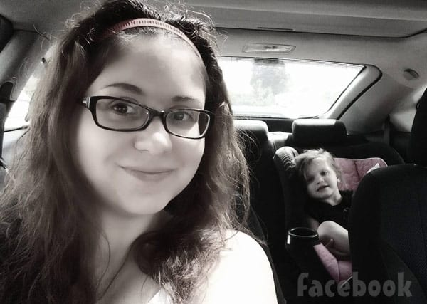 Return To Amish Sabrina with daughter Oakley in a car