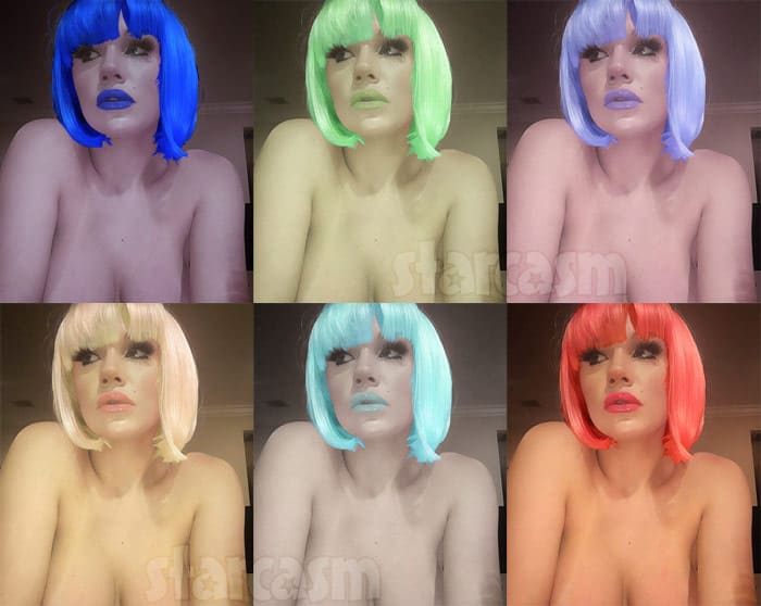 photos courtney stodden tries on colorful wigs after