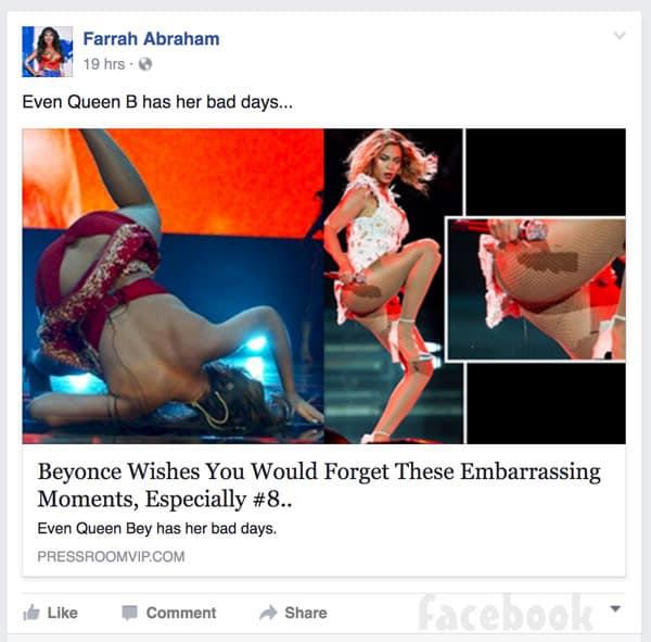 Farrah Abraham Beyonce Facebook post