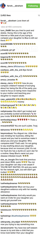 Farrah Abraham Blue Ivy Instagram photo comments