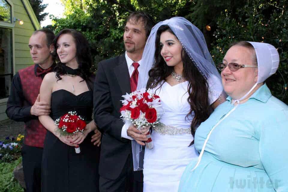 Return To Amish Jeremiah Raber Carmela wedding photo with Abe Rebecca and Mama Mary Schmucker