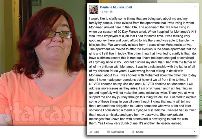 90 Day Fiance Danielle Facebook post about Mohamed