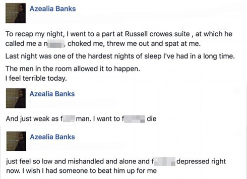 AzealiaBanksRusselCroweFacebook