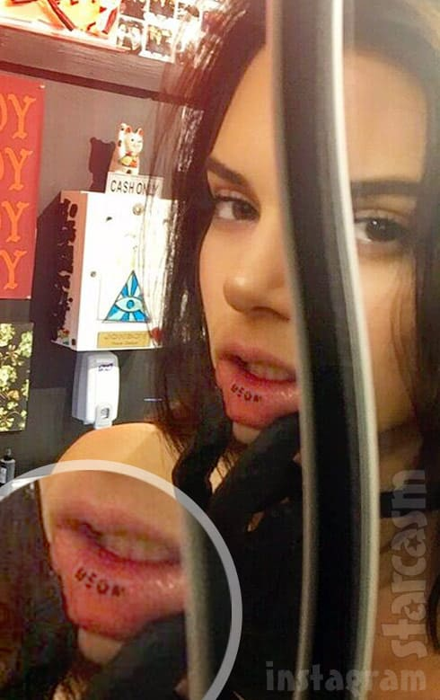 Photo Kendall Jenner Meow Lip Tattoo Touched Up By Jonboy