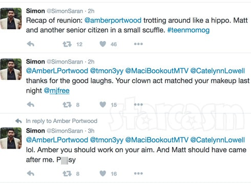 Simon Saram Amber Portwood hippo tweet