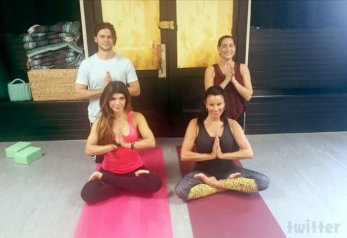 Teresa Giudice and Danielle Staub doing yoga together