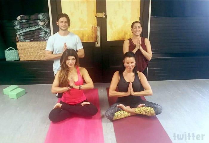 Teresa Giudice and Danielle Staub doing yoga together