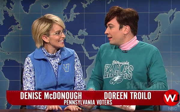 Tina Fey and Jimmy Fallon on SNL Weekend Update as female voters from Pennsylvania