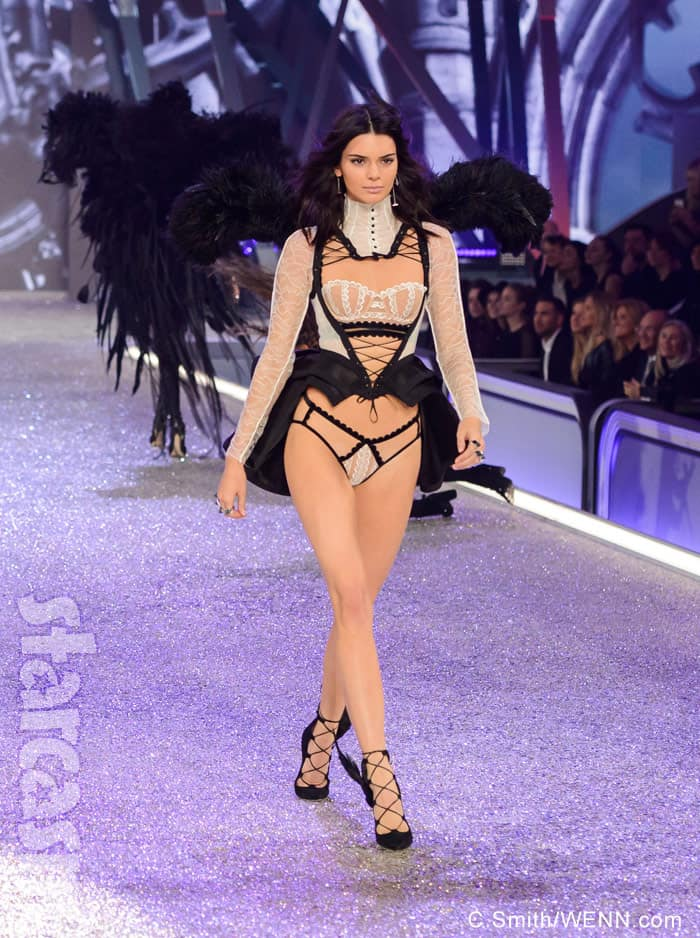Kendall Jenner Victoria's Secret lingerie black and white French maid
