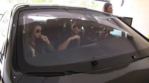 Kourtney Kardashian and Scott Disick arrive to visit Rob Kardashian and Blac Chyna's new baby girl at Cedars-Sinai Hospital