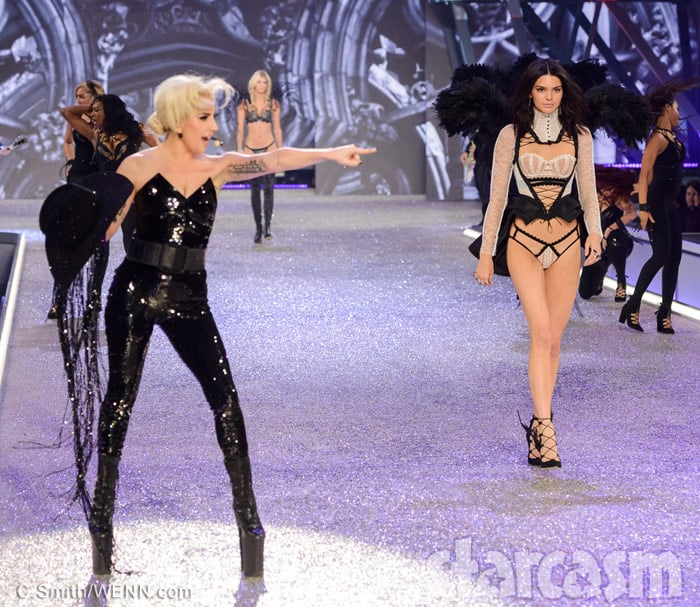 Lady Gaga and Kendall Jenner together at the 2016 Victoria's Secret Fashion Show