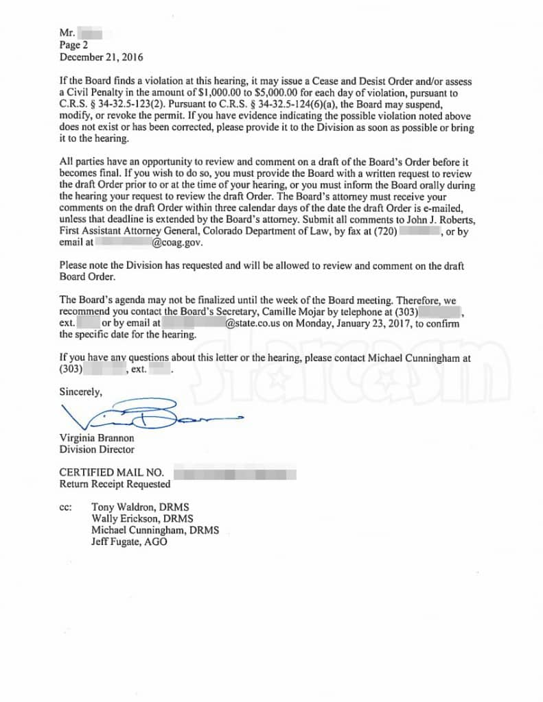 Katuska Pit Todd Hoffman Colorado gold mine violation letter part 2