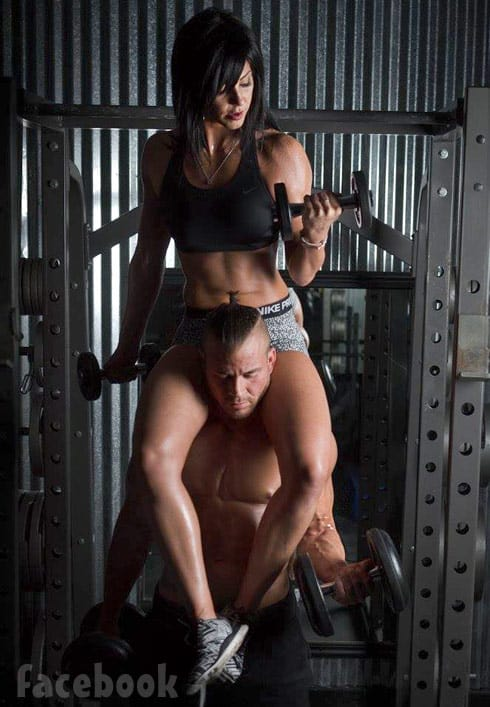 Nathan Griffith and girlfriend Jessica Henry together at the gym
