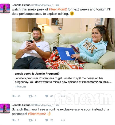 Jenelle Evans pregnancy preview tweet n delete