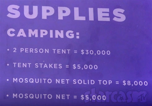 Stranded With A Million Dollars supply costs tents mosquito net