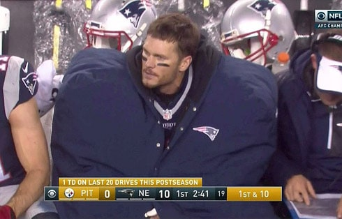 Tom Brady's huge coat