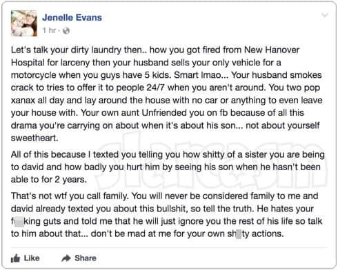 Jenelle Evans Facebook post about David Eason's sister Jessica Eason