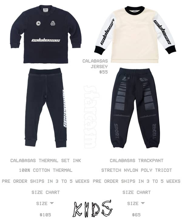 Kim and Kanye Kids Supply clothes with Calabasas