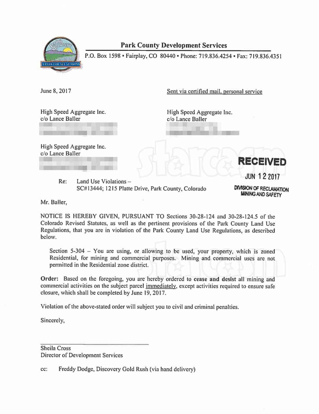 Gold_Rush_Todd Hoffman cease and desist letter