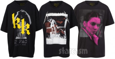 Kendall and Kylie shirts with Tupac Metallica and Notorious BIG