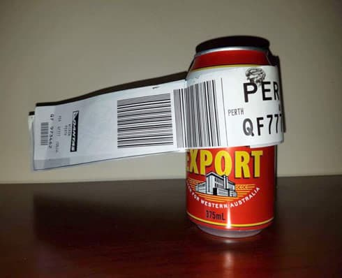 Man checks a can of beer as luggage in Australia