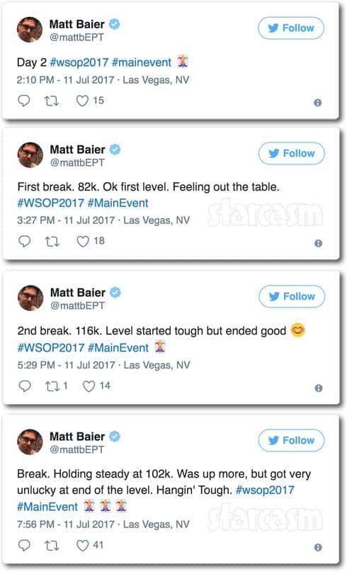 Matt Baier World Series of Poker tweets