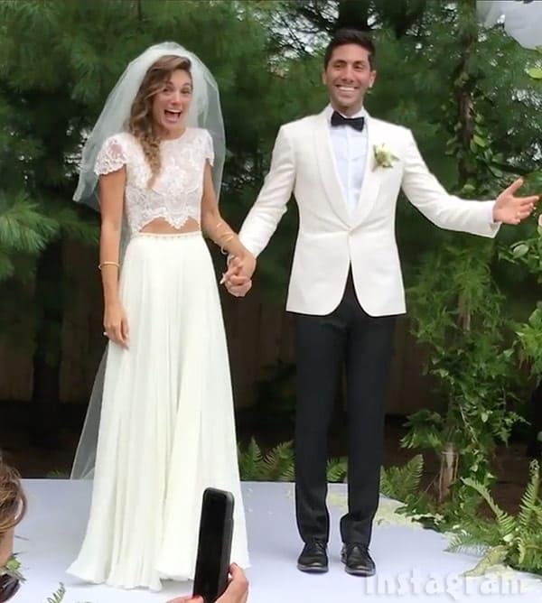 Laura Perlongo and Nev Schulman wedding photo