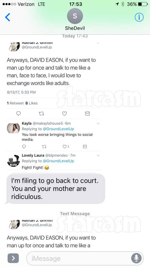 Nathan Griffith text message with Jenelle