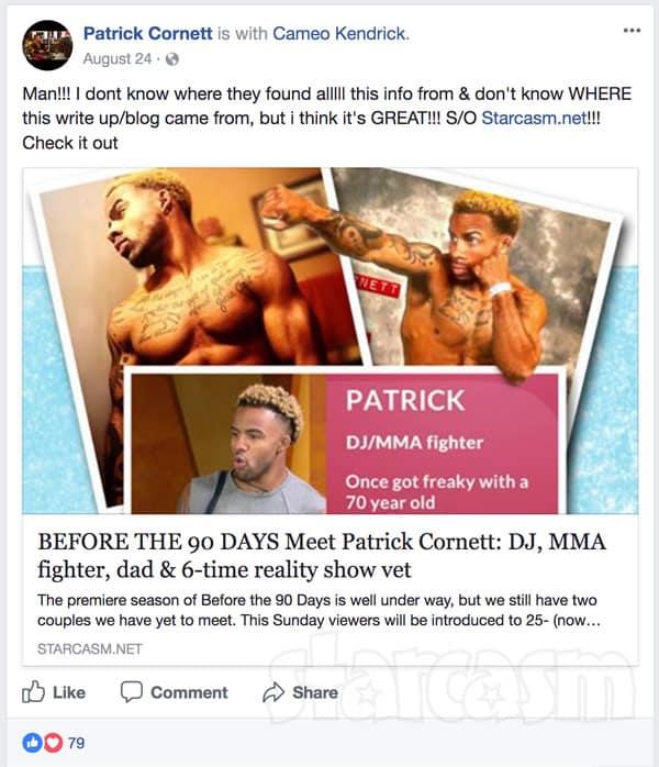 PAtrick Cornett Starcasm article Facebook share