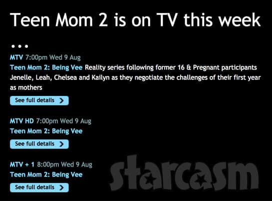 Teen mom 2 Being Vee special airing on MTV UK