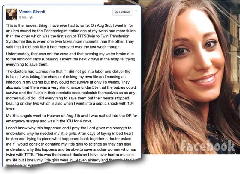 Vienna Girardi miscarriage Facebook post