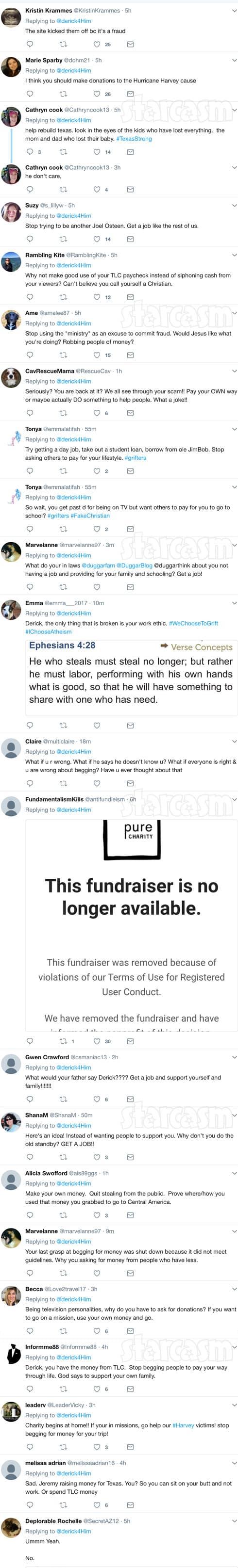 Derick Dillard fundraiser Twitter reactions