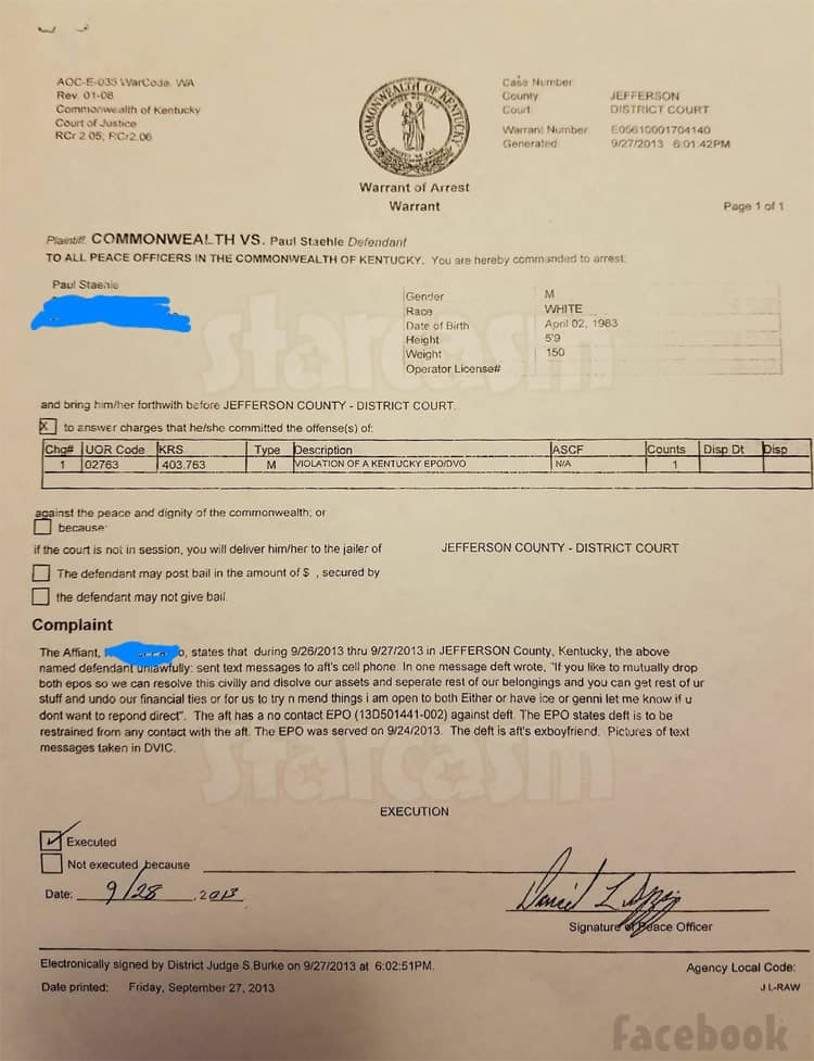 Paul Staehle arrest warrant