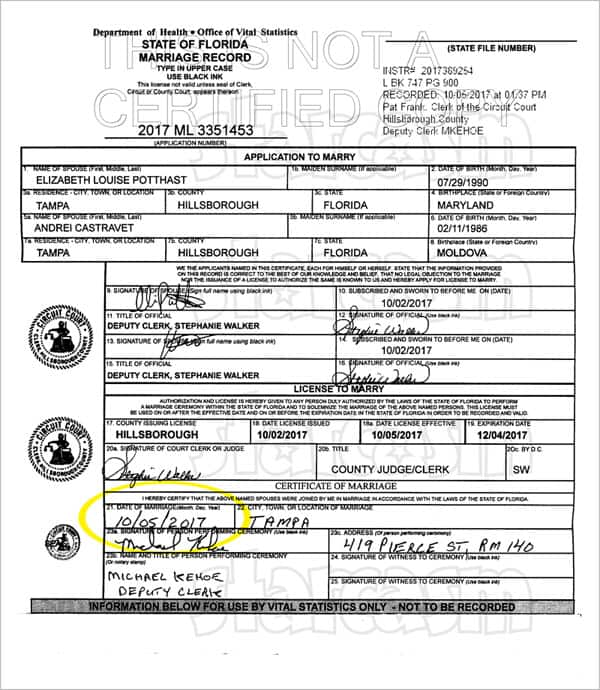 90 Day Fiance Elizabeth Potthast marriage license, wedding with Andri was Ovtober 5 2017