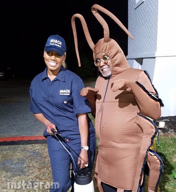 NeNe Leakes Gregg Leakes roach costume  sc 1 st  Starcasm & Gregg u0026 NeNe Leakes wear roach u0026 exterminator Halloween costumes to ...