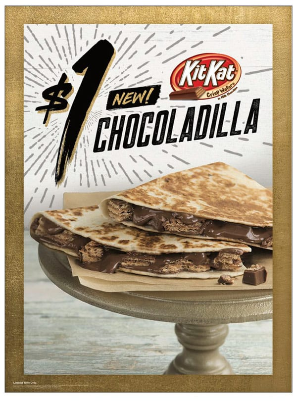 Taco Bell Kit Kat Chocoladilla chocolate quesadilla