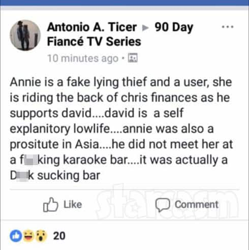 90 Day Fiance Antonio Ticer says Annie was a  prostitute comment