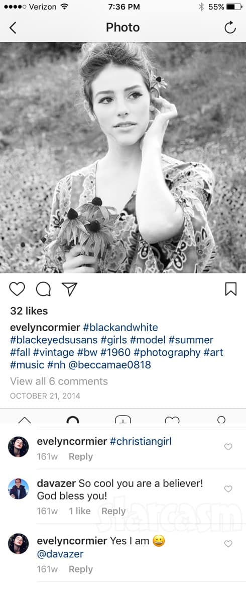 Evelyn Cormier David Vazquez first Instagram comment interaction