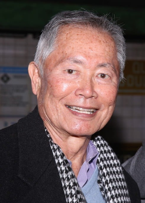 George Takei and Cheng Lin Backstage at the Broadway musical 'In Transit'