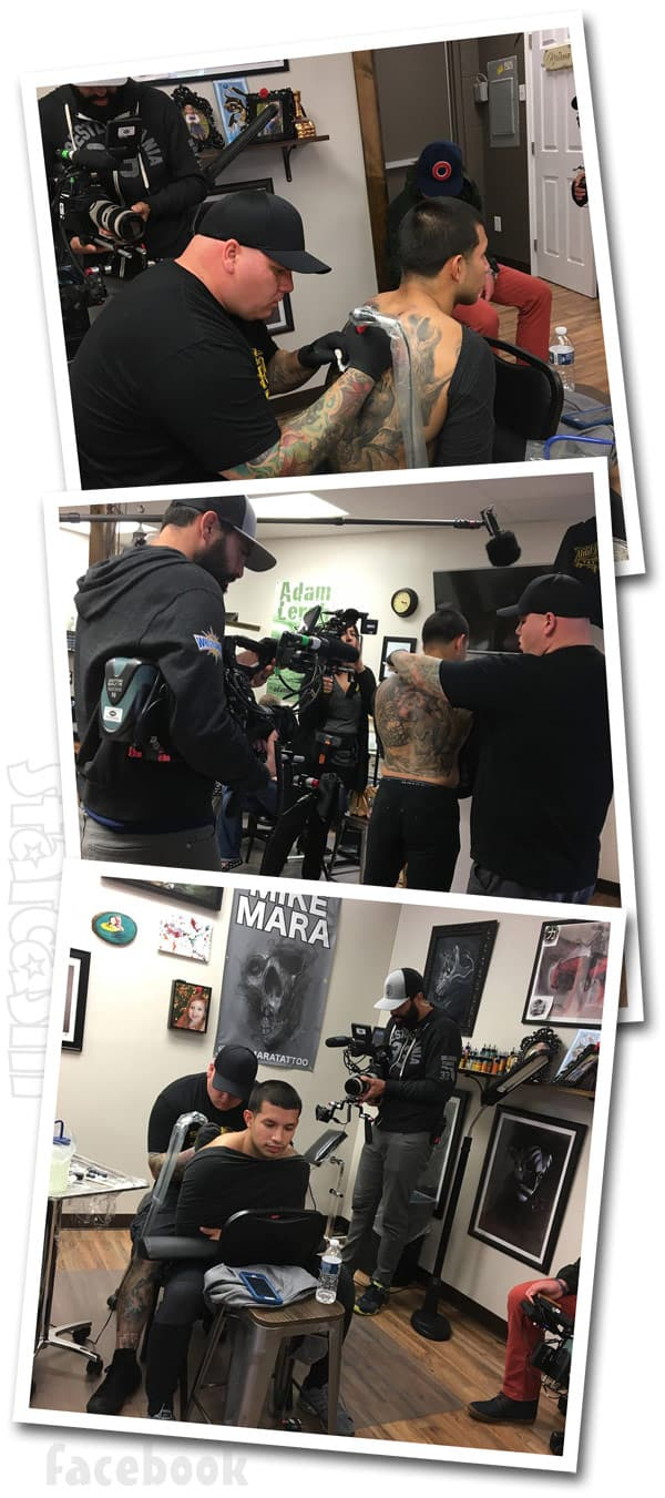 Javi Marroquin back Tattoo MTV filming for Being Javi
