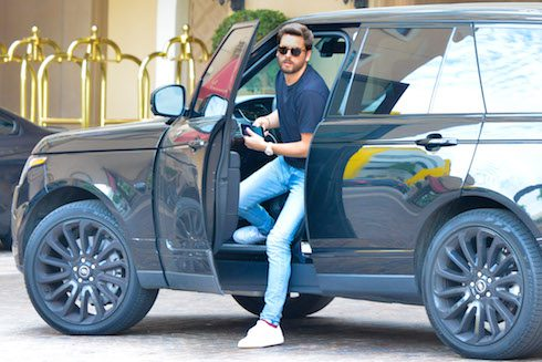 Scott Disick arrives with son Reign at Montage Hotel