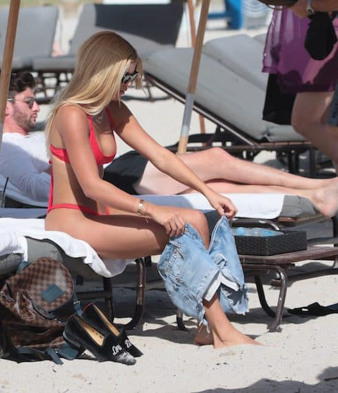 Sofia Richie in a red thong bikini at the beach in Miami