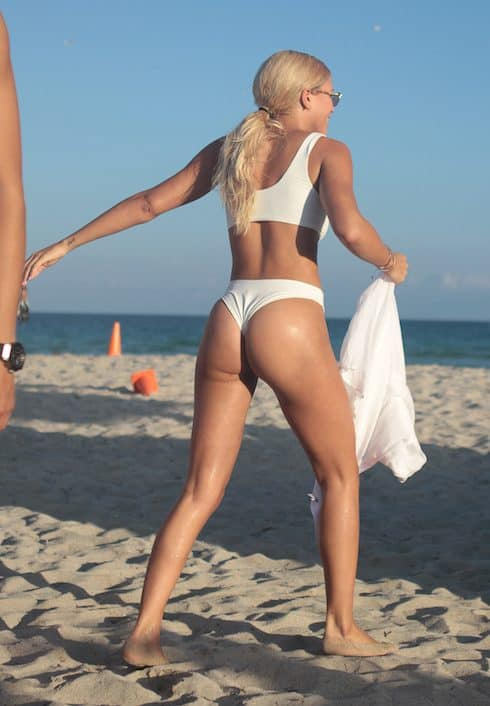 Bikini-Clad Sofia Richie taking a stroll on the beach in Miami Beach.