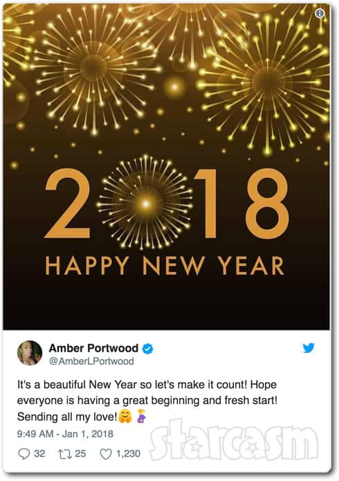 Amber Portwood Happy 2018 tweet