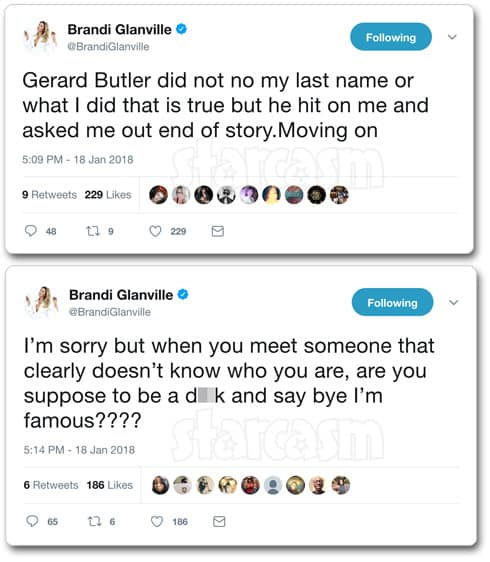 Brandi Glanville Gerard Butler hook up tweets