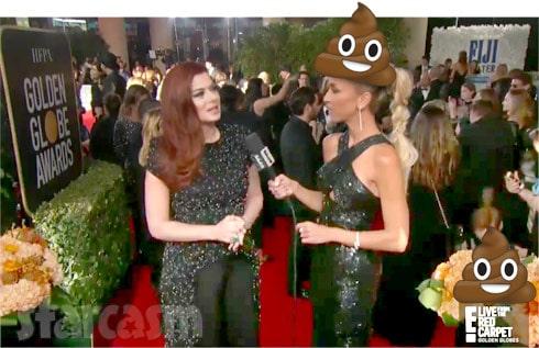 Debra Messing E! Golden Globes red carpet interview poop