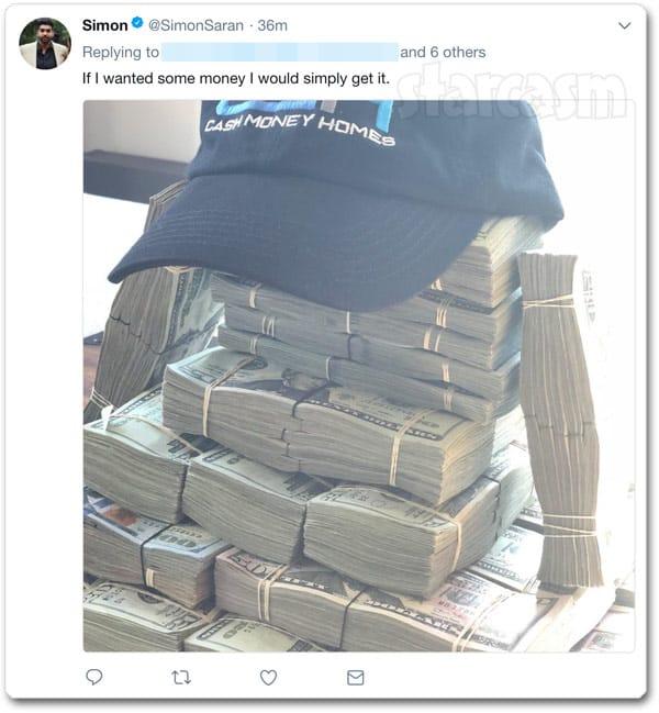 Simon Saran money cash tweet